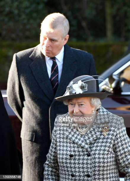 Queen Elizabeth II and Prince Andrew Duke of York attend church at St Mary the Virgin church Hillington in Sandringham on January 19 2020 in King's...