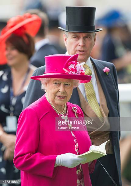Queen Elizabeth II and Prince Andrew Duke of York attend day 1 of Royal Ascot at Ascot Racecourse on June 16 2015 in Ascot England