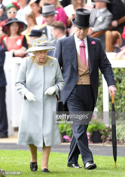 Queen Elizabeth II and Prince Andrew, Duke of York attend day three, Ladies Day, of Royal Ascot at Ascot Racecourse on June 20, 2019 in Ascot,...