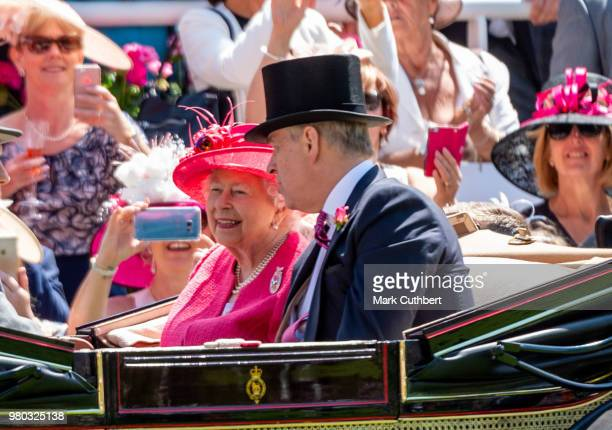 Sophie Countess of Wessex watches The Gold Cup on the big screen at Royal Ascot Day 3 at Ascot Racecourse on June 21 2018 in Ascot United Kingdom