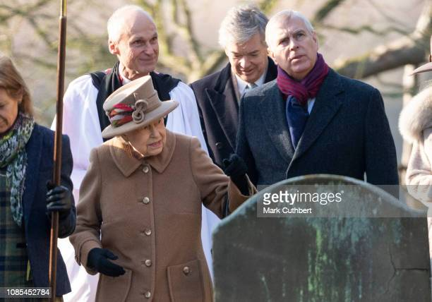 Queen Elizabeth II and Prince Andrew Duke of York attend Sunday Service at St Peter's Church in Wolferton on January 20 2019 in King's Lynn England