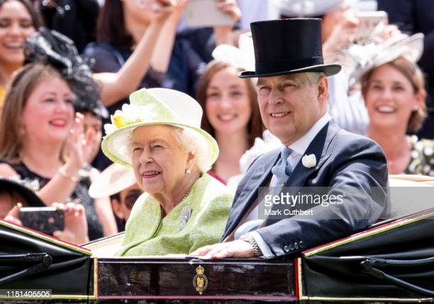 Queen Elizabeth II and Prince Andrew Duke of York on day five of Royal Ascot at Ascot Racecourse on June 22 2019 in Ascot England