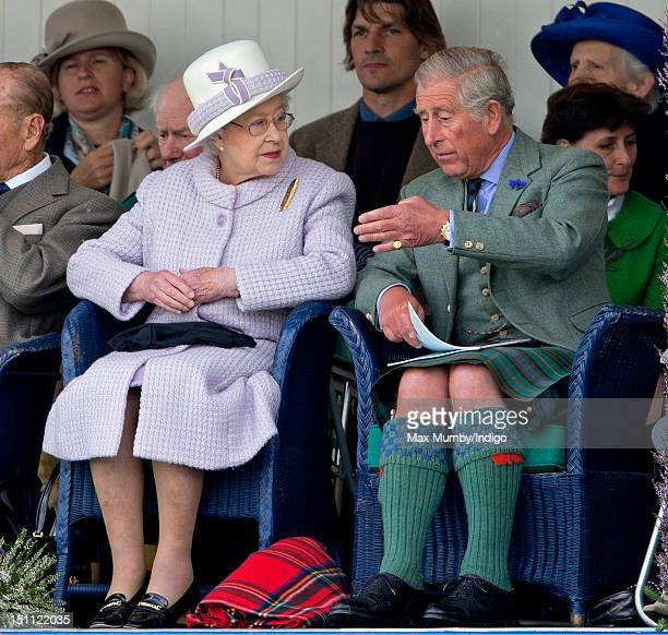 Queen Elizabeth II and Prince Charles Prince of Wales attend the 2012 Braemar Highland Gathering at The Princess Royal Duke of Fife Memorial Park on...