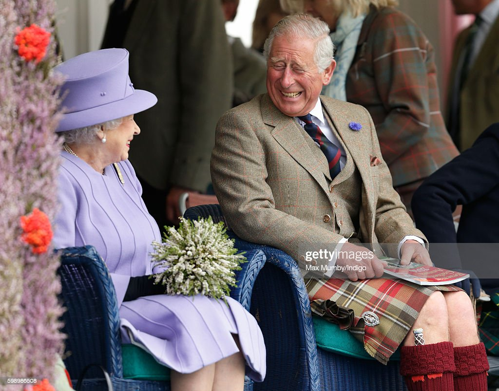 Queen Elizabeth II and Prince Charles, Prince of Wales attend the 2016 Braemar Highland Gathering at The Princess Royal and Duke of Fife Memorial Park on September 3, 2016 in Braemar, Scotland. There has been an annual gathering at Braemar, in the heart of the Cairngorms National Park, for over 900 years. The current gathering, in the form of a Highland Games and run by the Braemar Royal Highland Society (BRHS), takes place on the first Saturday in September and sees competitors in Running, Heavy Weights, Solo Piping, Light Field and Solo Dance watched by around 16000 spectators.