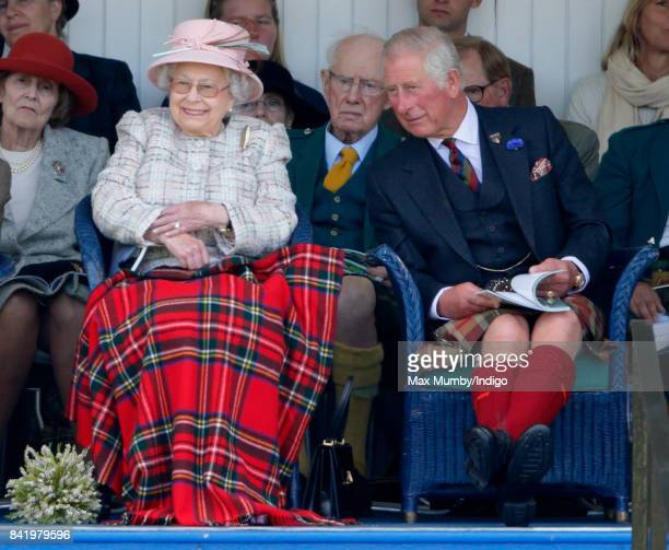 Queen Elizabeth II and Prince Charles Prince of Wales attend the 2017 Braemar Gathering at The Princess Royal and Duke of Fife Memorial Park on...