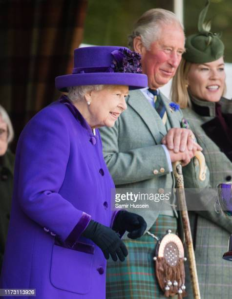 Queen Elizabeth II and Prince Charles Prince of Wales attend the 2019 Braemar Highland Games on September 07 2019 in Braemar Scotland