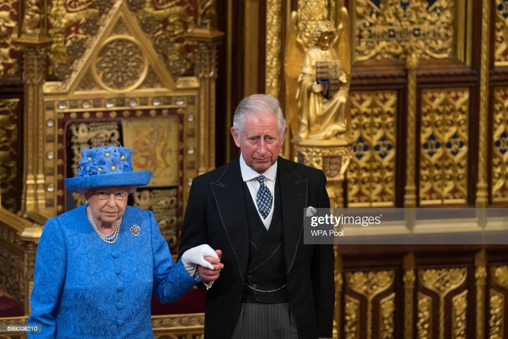Queen Elizabeth II and Prince Charles, Prince of Wales attend the State Opening Of Parliament in the House of Lords at the Palace of Westminster on June 21, 2017 in London, England. This year saw a scaled-back State opening of Parliament Ceremony with the Queen arriving by car rather than carriage and not wearing the Imperial State Crown or the Robes of State.