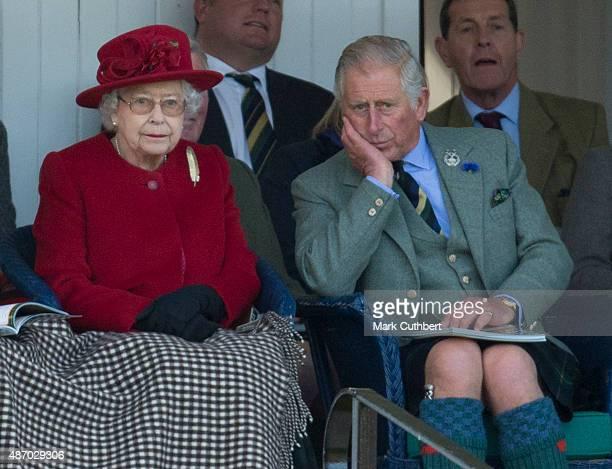 Queen Elizabeth II and Prince Charles Prince of Wales attend the Braemar Gathering on September 5 2015 in Braemar Scotland There has been an annual...