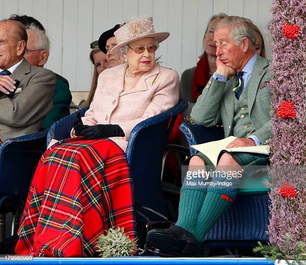 Queen Elizabeth II and Prince Charles Prince of Wales attend the annual Braemar Highland Games at The Princess Royal and Duke of Fife Memorial Park...