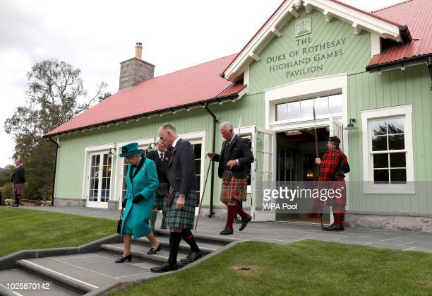 Queen Elizabeth II and Prince Charles Prince of Wales the Duke of Rothesay after they officially opened the Duke of Rothesay Highland Games Pavilion...