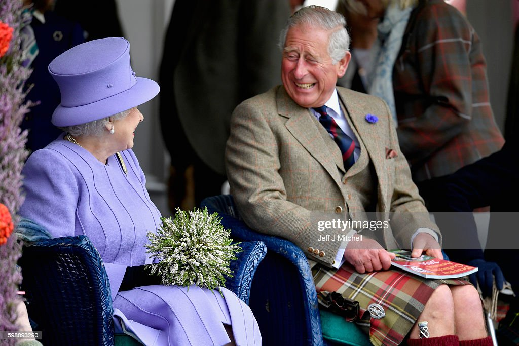 Queen Elizabeth II and Prince Charles, Prince of Wales watch competitors at the Braemar Gathering on September 3, 2016 in Braemar, Scotland. There has been an annual gathering at Braemar, in the heart of the Cairngorms National Park, for over 900 years. The current gathering, in the form of a Highland Games and run by the Braemar Royal Highland Society (BRHS), takes place on the first Saturday in September and sees competitors in Running, Heavy Weights, Solo Piping, Light Field and Solo Dance watched by around 16000 spectators.