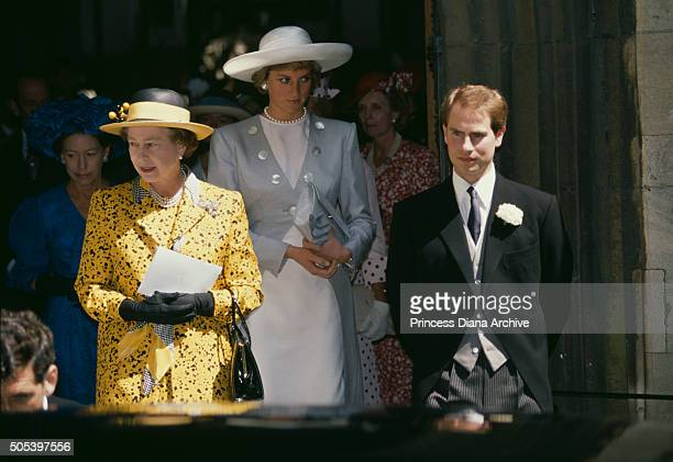 Queen Elizabeth II and Prince Edward attending the wedding of their son James Ogilvy and Julia Rawlinson at St Mary The Virgin Church in Saffron...