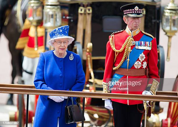 Queen Elizabeth II and Prince Edward Duke of Kent during the annual Trooping the Colour Ceremony at Buckingham Palace on June 15 2013 in London...