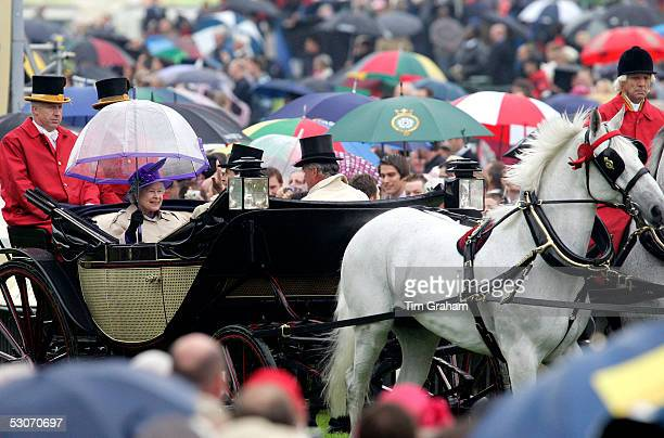 Queen Elizabeth II and Prince Edward The Earl of Wessex attends the second day of Royal Ascot 2005 at York Racecourse on June 15, 2005 in York,...