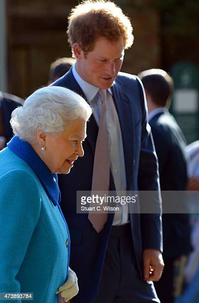 Queen Elizabeth II and Prince Harry attend the annual Chelsea Flower show at Royal Hospital Chelsea on May 18 2015 in London England