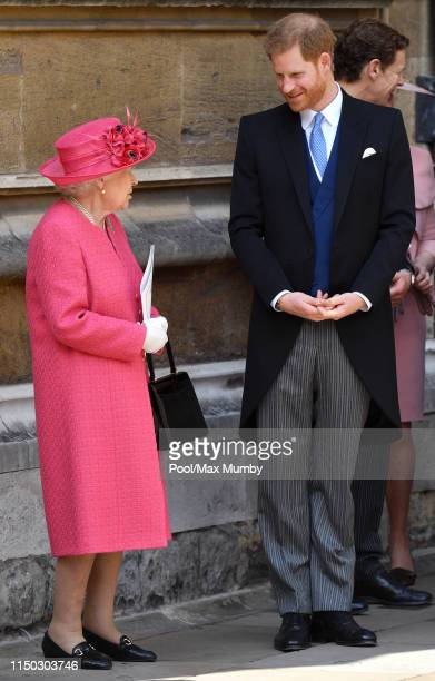 Queen Elizabeth II and Prince Harry, Duke of Sussex attend the wedding of Lady Gabriella Windsor and Thomas Kingston at St George's Chapel on May 18,...