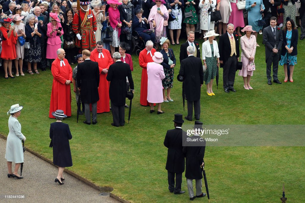 View Of The Queen's Garden Party From The Roof Of Buckingham Palace : News Photo