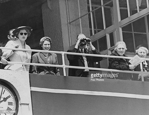 Queen Elizabeth II and Prince Henry Duke of Gloucester in the Royal Box at the Derby Epsom Downs Racecourse Surrey 6th June 1953
