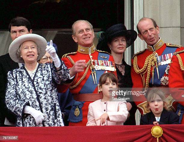 Queen Elizabeth II and Prince Philip are joined on the balcony of Buckingham Palace by Princess Eugenie and the Duke of Kent for Trooping the Colour