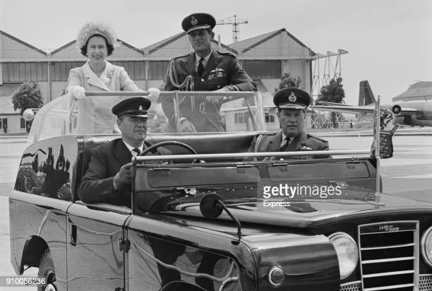 Queen Elizabeth II and Prince Philip arrive at Abingdon to visit display to celebrate 50th Birthday of the RAF 15th June 1968