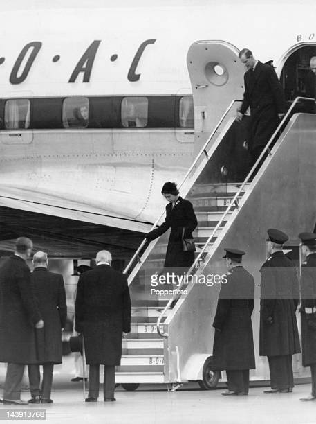 Queen Elizabeth II and Prince Philip arrive at London Airport after a flight from Nairobi 7th February 1952