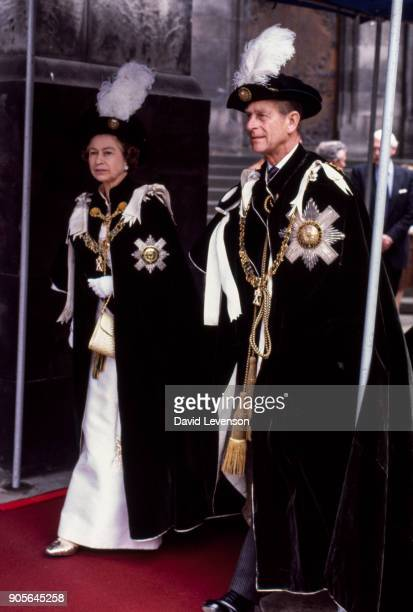 Queen Elizabeth II and Prince Philip arrive at the Knights of the Order of the Thistle service on July 2 1982 in St Giles Cathedral Edinburgh in...