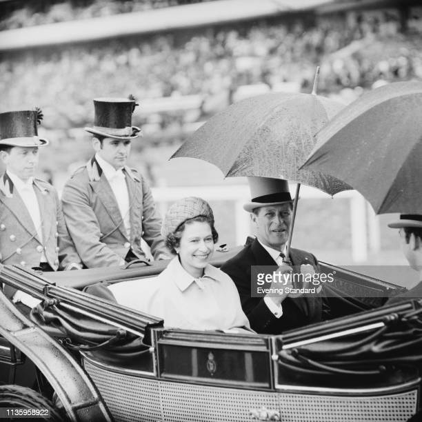 Queen Elizabeth II and Prince Philip arrive on a carriage at Royal Ascot, Ascot Racecourse, UK, 18th June 1969.