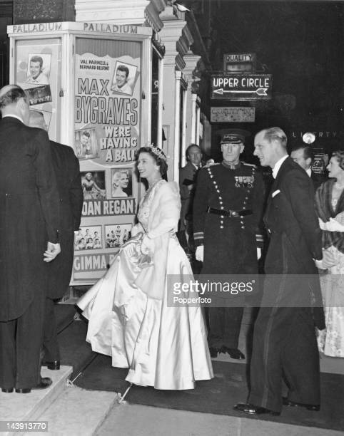 Queen Elizabeth II and Prince Philip arriving at the London Palladium for the Royal Variety Performance 18th November 1957