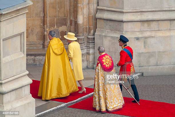 Queen Elizabeth II and Prince Philip arriving at Westminster Abbey to attend wedding of their grandson His Royal Highness Prince William of Wales and...