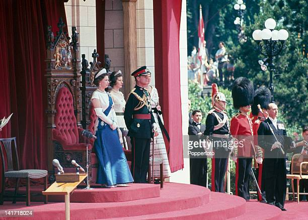 Queen Elizabeth II and Prince Philip at a formal reception during their state visit to Canada, June-July 1967.