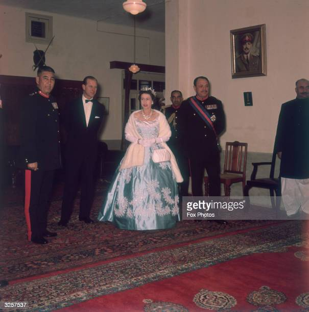 Queen Elizabeth II and Prince Philip at an Army dinner in Lahore Pakistan during a royal tour 11th February 1961