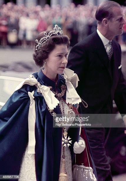 Queen Elizabeth II and Prince Philip at the 150th anniversary service of St Michael & St George at St Paul's Cathedral in London on 24th July 1968.