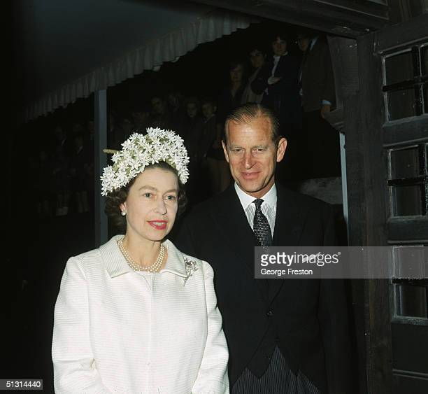 Queen Elizabeth II and Prince Philip at the dedication of a Knights Bachelor temple at the church of St Bartholomew The Great London 10th July 1968