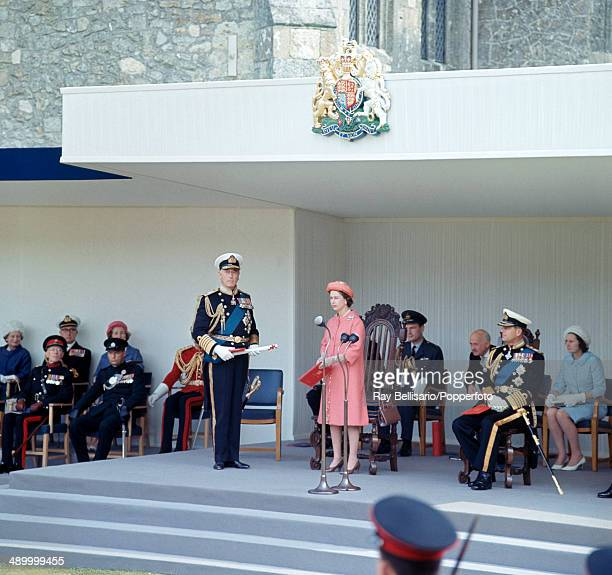 Queen Elizabeth II and Prince Philip at the installation of Lord Mountbatten Louis Mountbatten 1st Earl of Burma as Governor of the Isle of Wight on...