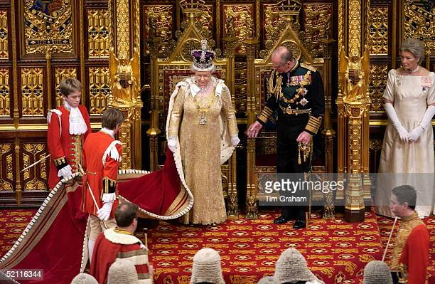 Queen Elizabeth II And Prince Philip At The State Opening Of Parliament Held In The House Of Lords The Queen And Prince Philip Are Accompanied By...
