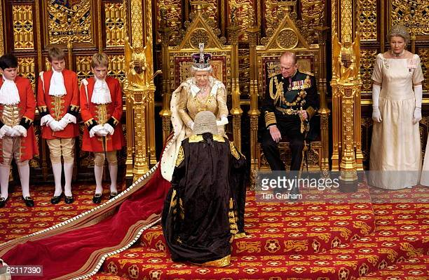 Queen Elizabeth II And Prince Philip At The State Opening Of Parliament Held In The House Of Lords The Queen Is Greeted By The Lord Chancellor Before...