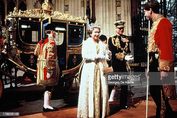 Queen Elizabeth II and Prince Philip at the State Opening of Parliament on November 7 1990 in London England
