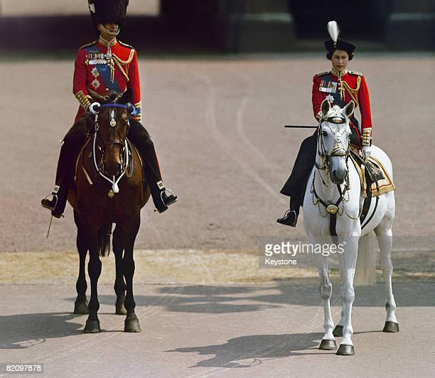 Queen Elizabeth II and Prince Philip at the Trooping the Colour ceremony in London circa 1960