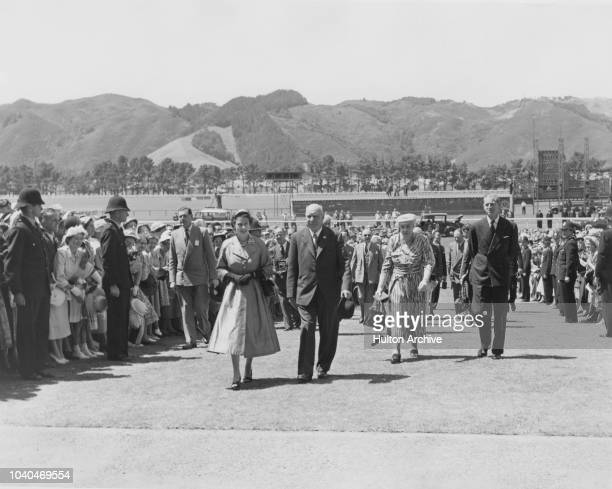Queen Elizabeth II and Prince Philip at Trentham Racecourse, Wellington, during their visit to New Zealand on the queen's coronation world tour, 14th...