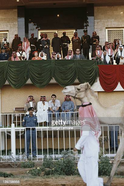 Queen Elizabeth II and Prince Philip attend the camel races in Riyadh during their state visit to Saudi Arabia 18th February 1979