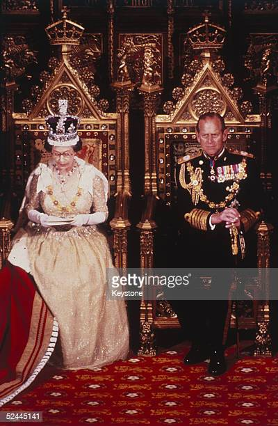 Queen Elizabeth II and Prince Philip attend the State Opening of Parliament November 1983