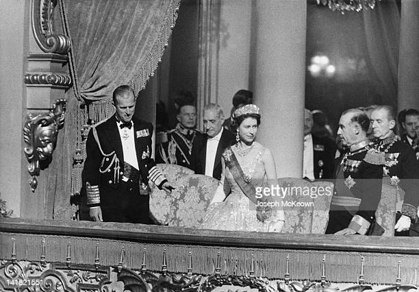 Queen Elizabeth II and Prince Philip attend the theatre during a State Visit to Portugal February 1957 Original Publication Picture Post 8831...
