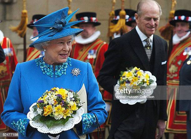 Queen Elizabeth II and Prince Philip attend the traditional Maundy Service in Wakefield on March 24 2005 in Yorkshire England