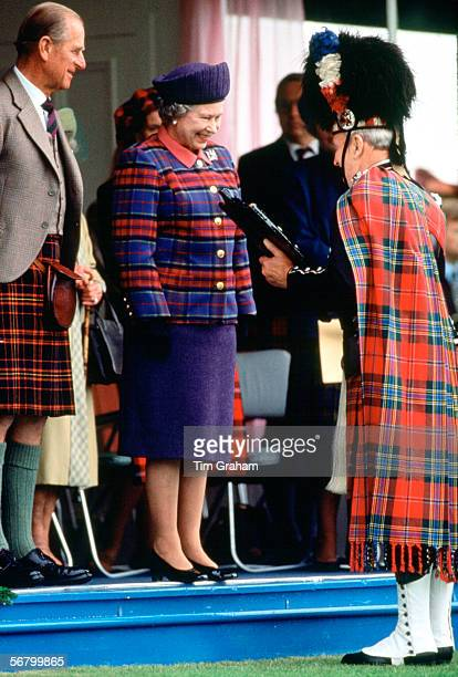 Queen Elizabeth II and Prince Philip attending the Braemar Games in Scotland