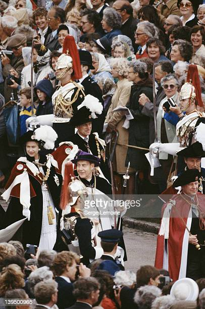 Queen Elizabeth II and Prince Philip both wearing ceremonial robes during the Garter Ceremony in Windsor Berkshire UK June 1978