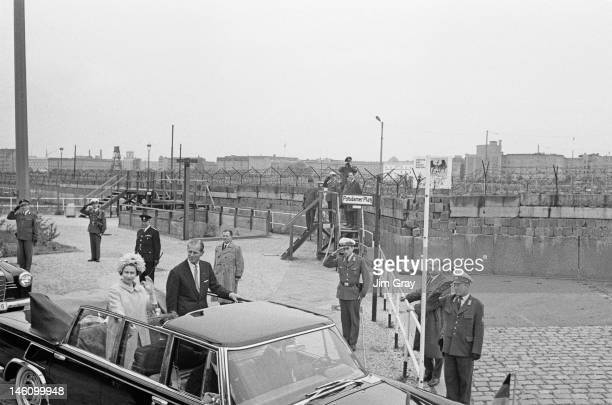 Queen Elizabeth II and Prince Philip by the Berlin Wall at Potsdamer Platz West Berlin during their state visit to West Germany 27th May 1965