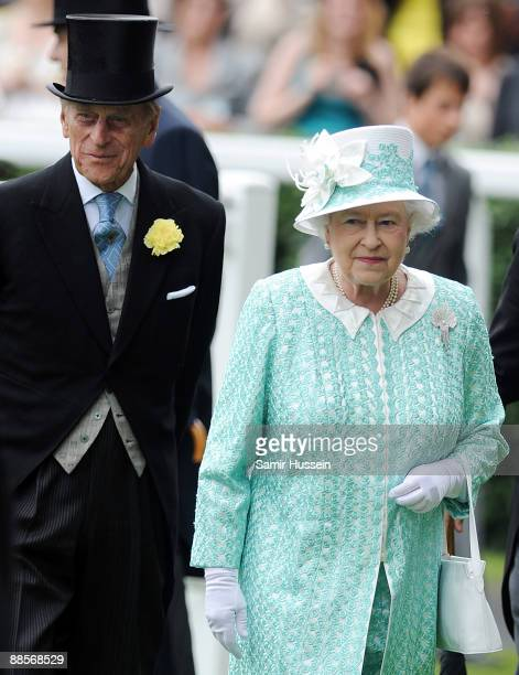 Queen Elizabeth II and Prince Philip Duke of Edinbugh attend Ladies Day of Royal Ascot at Ascot Racecourse on June 18 2009 in Ascot England