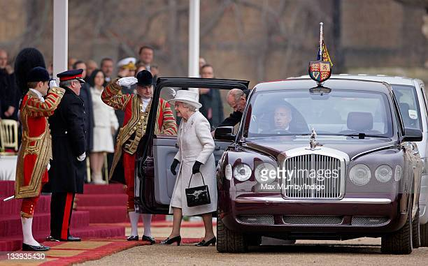 Queen Elizabeth II and Prince Philip Duke of Edinburgh are greeted by the LordLieutenant of Greater London Sir David Brewer as they arrive in Horse...