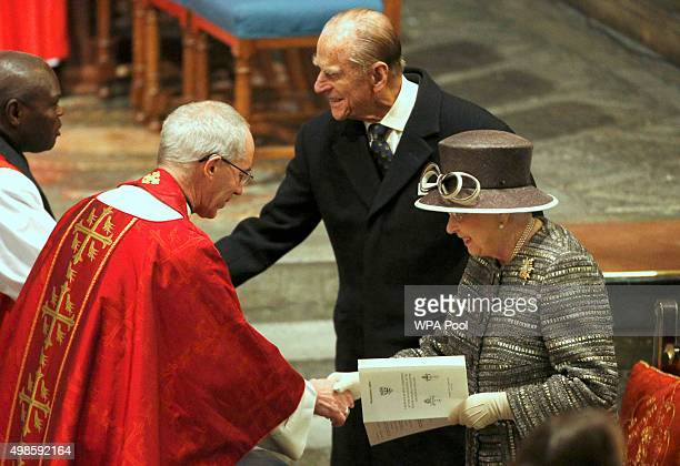 Queen Elizabeth II and Prince Philip Duke of Edinburgh are greeted by Archbishop of Canterbury Justin Welby and the Archbiship of York John Sentamu...