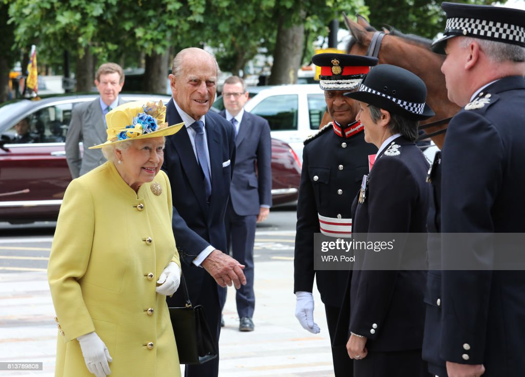 Queen Elizabeth II (C) and Prince Philip, Duke of Edinburgh (L) are greeted by Commissioner of the Metropolitan Police Cressida Dick (R) and Deputy Commissioner of the Metropolitan Police Craig Mackey as they arrive at the opening of the the new headquaters of the Metropolitan Police Service on July 13, 2017 in London, England.
